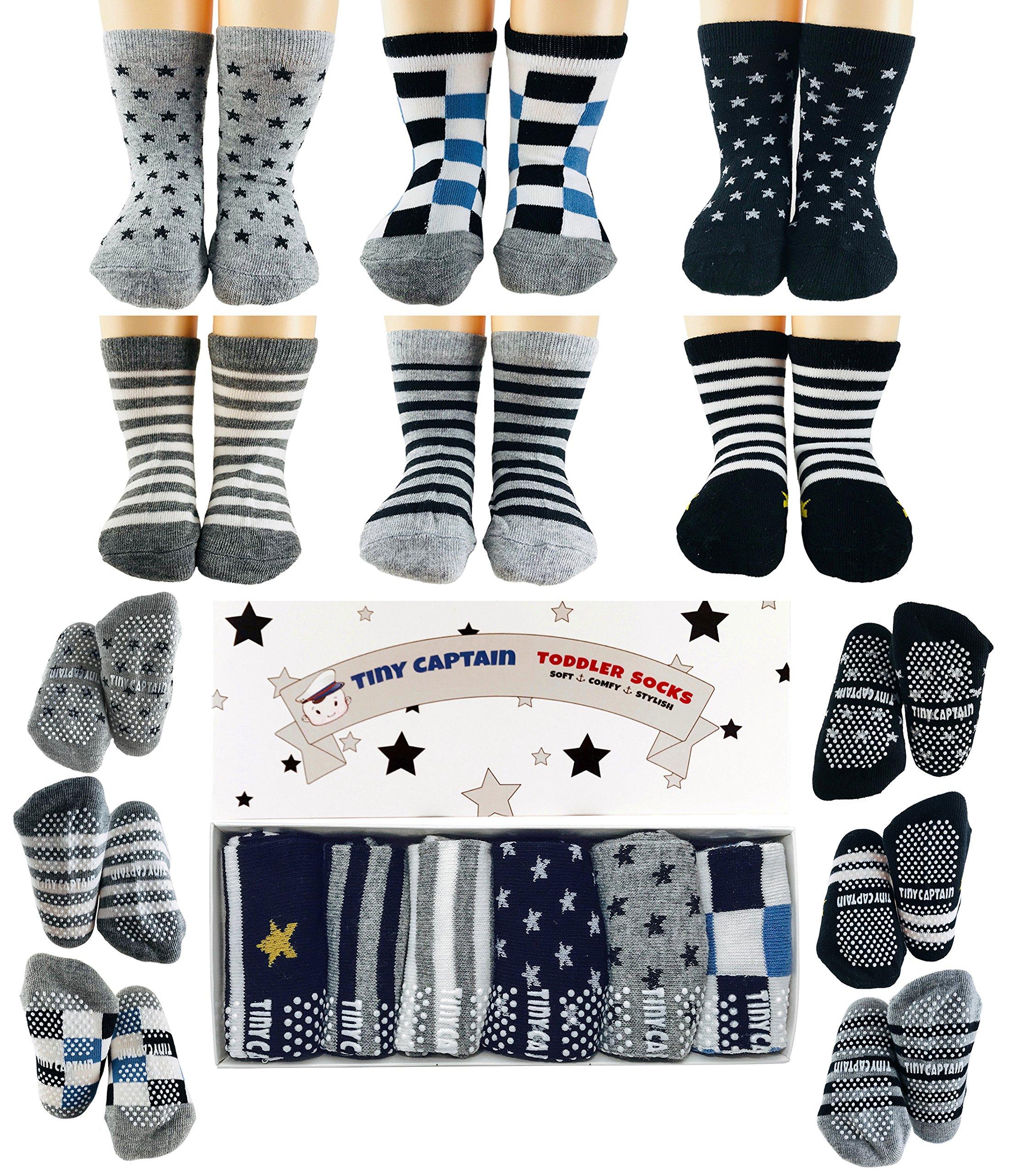Tiny Captain Toddler Boy Non Slip Socks, Best Gift for 1-3 Year Old Boys Anti Slip Non Skid Grip Sock Birthday Gift