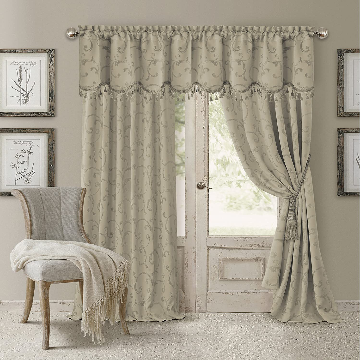 "Elrene Home Fashions 26865901450 Blackout Energy Efficient Room Darkening Rod Pocket Window Curtain Drape Regal Jacquard Woven Panel, 52"" x 84"", Natural, 1"