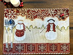 """Tache Mr. and Mrs. Snowman Couple Vintage Christmas Eve Holiday Snowflakes Traditional Red Beige Decorative Woven Tapestry Placemats, 13x19"""""""