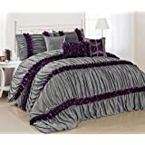7 Piece Caralina Gray with Purple Stripe Ruffled Pleated Comforter Sets- Queen King Size (King)