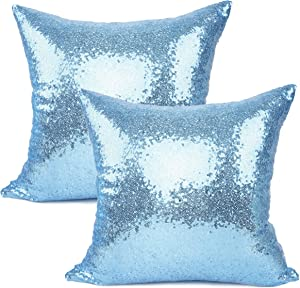 YOUR SMILE Pack of 2, New Luxury Series Solid Color Decorative Glitzy Sequin & Comfy Satin Throw Pillow Cover Cushion Case for Wedding/Christmas (Baby Blue,18