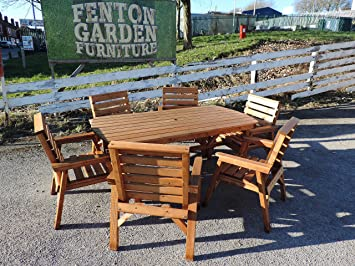 Heavy Duty Wooden Garden Patio Furniture Set 6 Table 6 Chairs