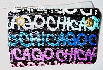 Robin Ruth Chicago Black  Rainbow Blue Neon Canvas Wallet w  key ring cf61fda5a1d3