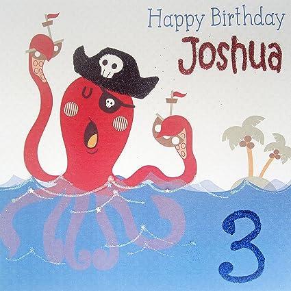 Tarjeta de personalizable para niños cumpleaños pulpo pirata ...