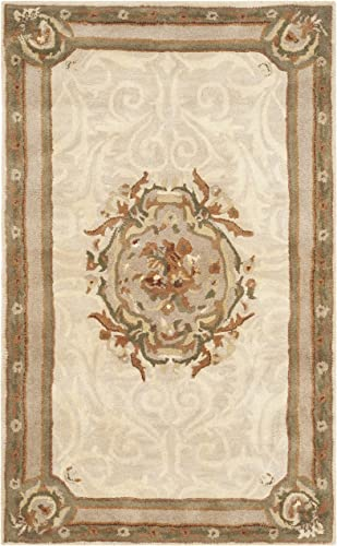 Safavieh Empire Collection EM414C Handmade Traditional European Ivory and Light Grey Premium Wool Area Rug 2 x 3