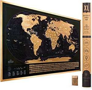 XL Scratch Off Map of The World with Flags - 36 x 24 Easy to Frame Scratch Off World Map Wall Art Poster with US States & Flags - Deluxe World Map Scratch Off Travel Map Designed for Travelers