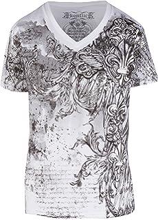 Sakkas - Hombre de Camiseta con Cuello en Forma de Equipo con Decorado metálico y Plateado con Manga Corta (Cruz, Espada): Amazon.es: Ropa y accesorios