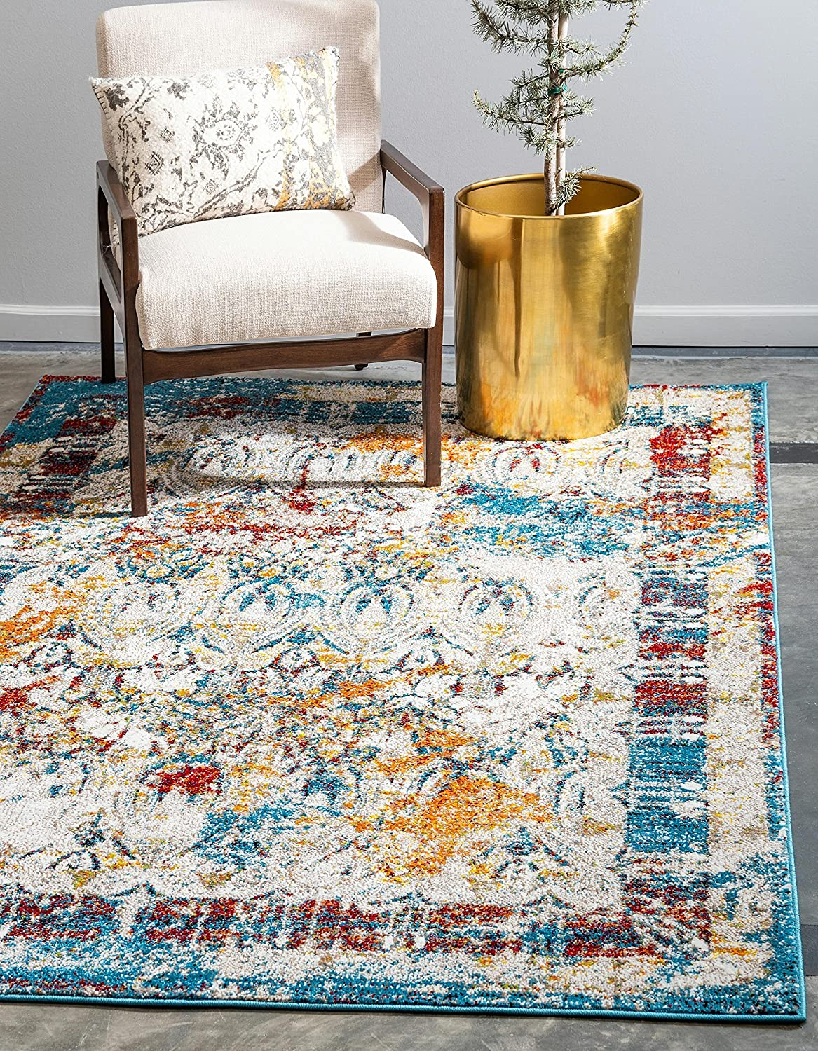 Unique Loom Rosso Collection Vintage Traditional Distressed Multi Area Rug (5' 0 x 8' 0)