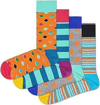HS by Happy Socks 4 Pair - Fun Novelty Big Dot Gift Box for Men & Women Orange 10-13