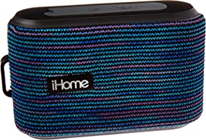 iHome Slip and Water Resistant Fabric Rechargeable Bluetooth Speaker with Speakerphone (Purple/White)