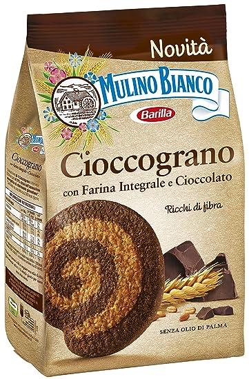 Mulino Bianco Biscotti Frollini Integrali Cioccograno con Farina Integrale  e Cioccolato Fondente , 330 gr Amazon.it Amazon Pantry