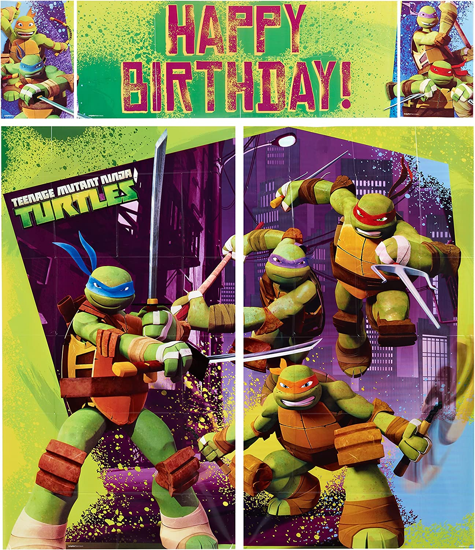 American Greetings Teenage Mutant Ninja Turtles Party Supplies, Scene Setter Wall Decorations, 5 piece set