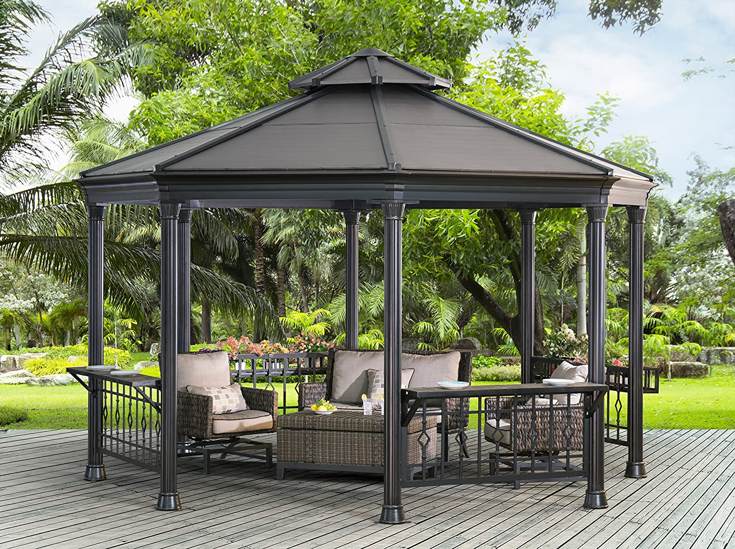 Sunjoy 14 x 13 ft. Parsons octogonal Gazebo: Amazon.es: Jardín