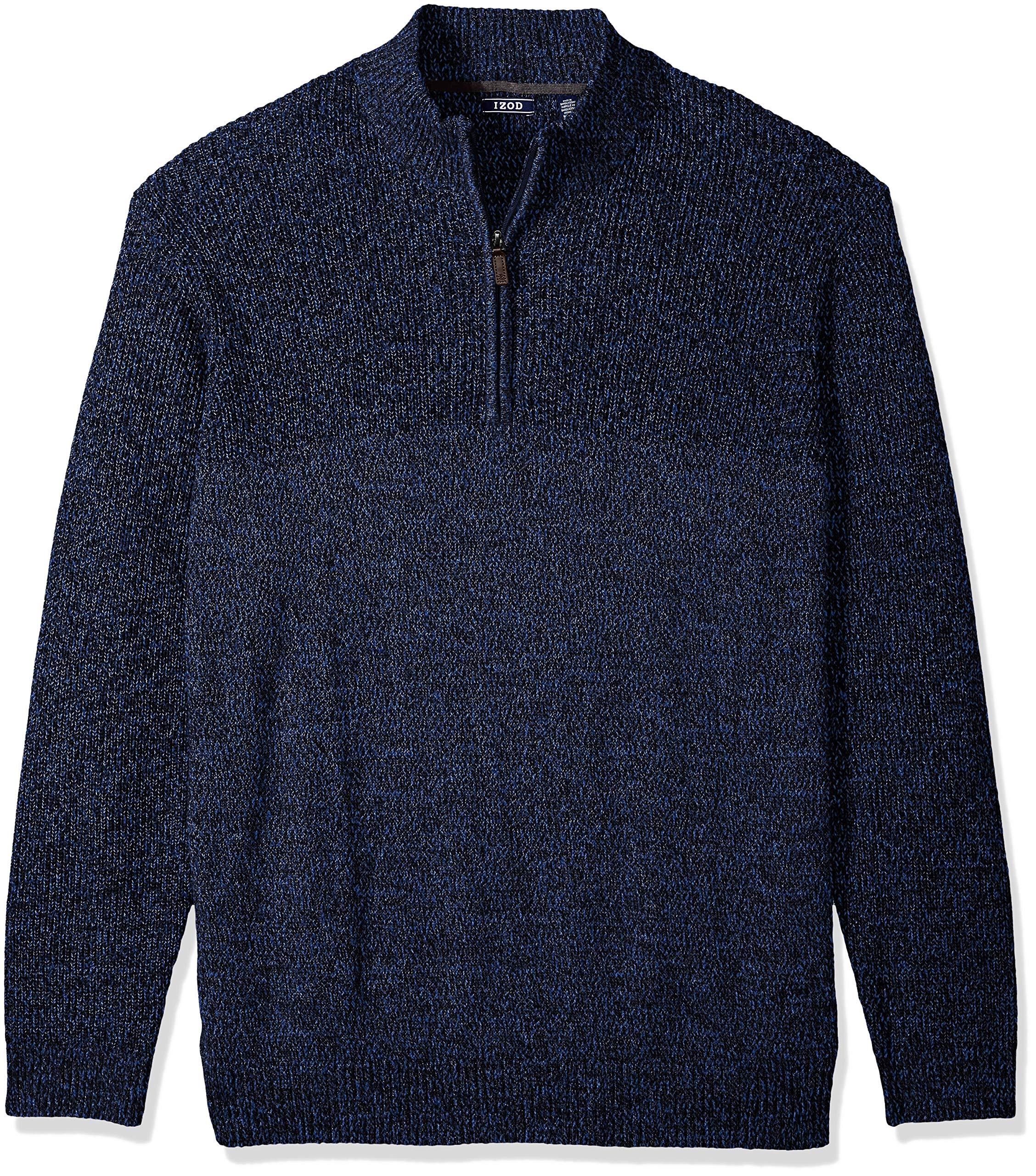 IZOD Men's Big and Tall Newport Marled Quarter Zip 7 Gauge Textured Sweater, New Peacoat, X-Large