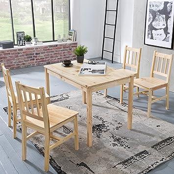 Finebuy Esszimmer Set Emilio 5 Teilig Kiefer Holz Landhaus Stil 108