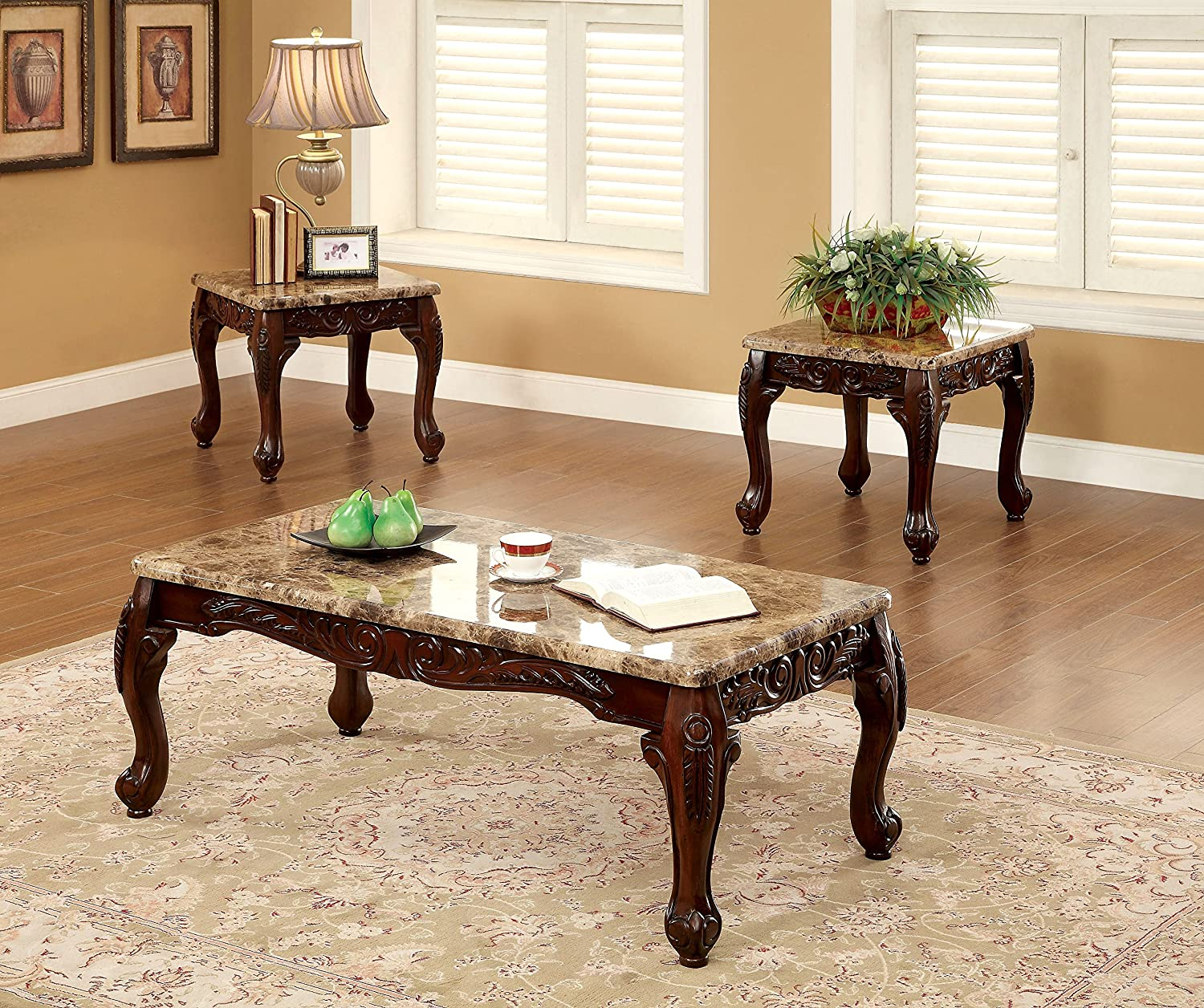 Amazon.com Furniture of America Beltran 3-Piece Traditional Faux Marble Top Accent Tables Set Dark Oak Kitchen u0026 Dining : table set for living room - pezcame.com