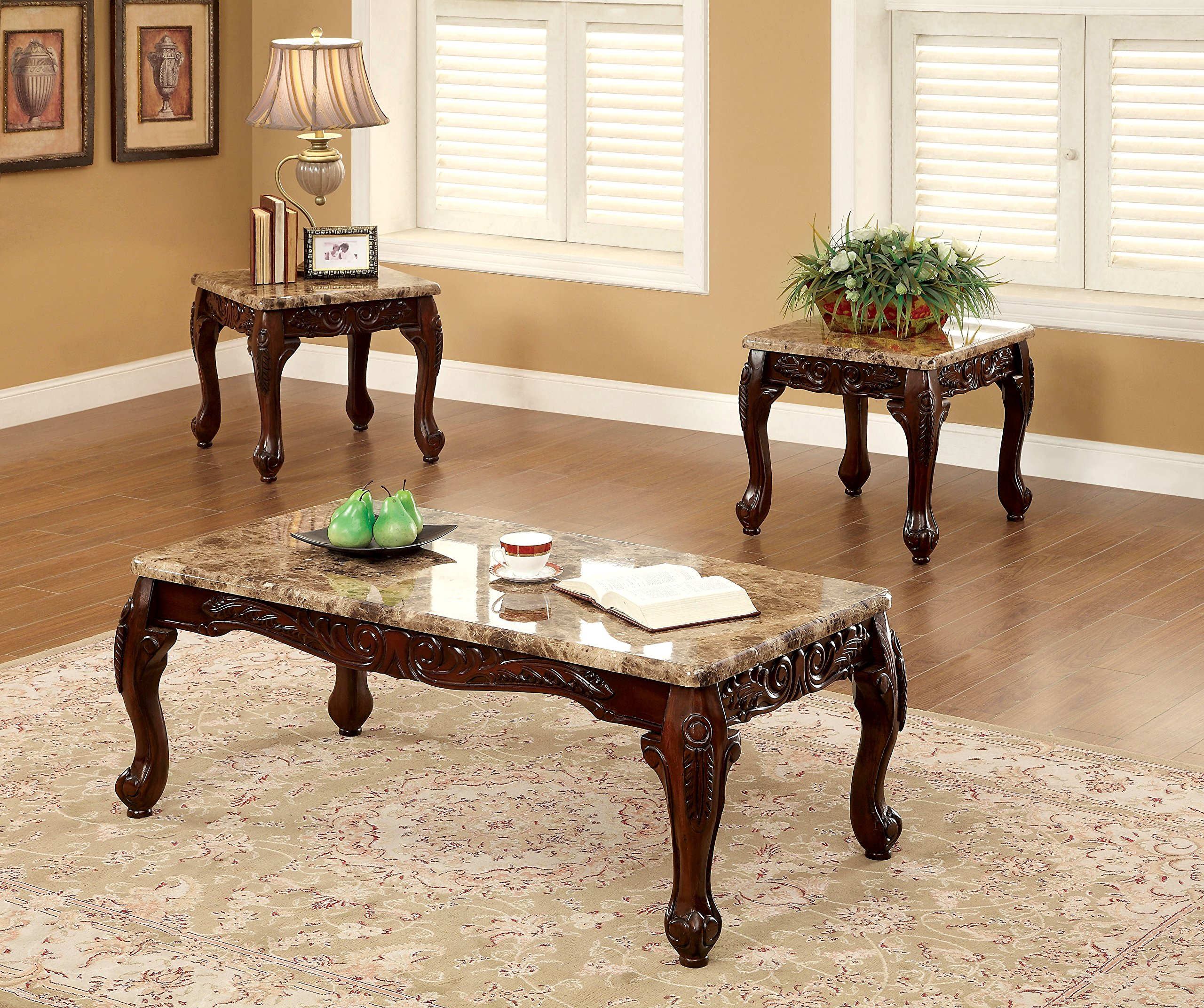 Furniture of America Beltran 3-Piece Traditional Faux Marble Top Accent Tables Set, Dark Oak by Furniture of America