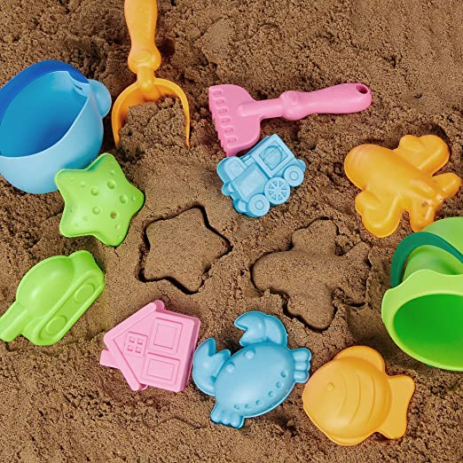 Amazon.com: KIDAMI 12 Pieces Beach Sand Toys Set in Mesh Bag, with 8 ...