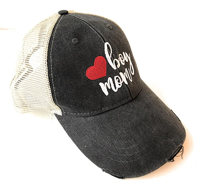 Mary s Monograms Boy Mom Embroidered Black Distressed Trucker Hat at ... 7a6fe1a85aa