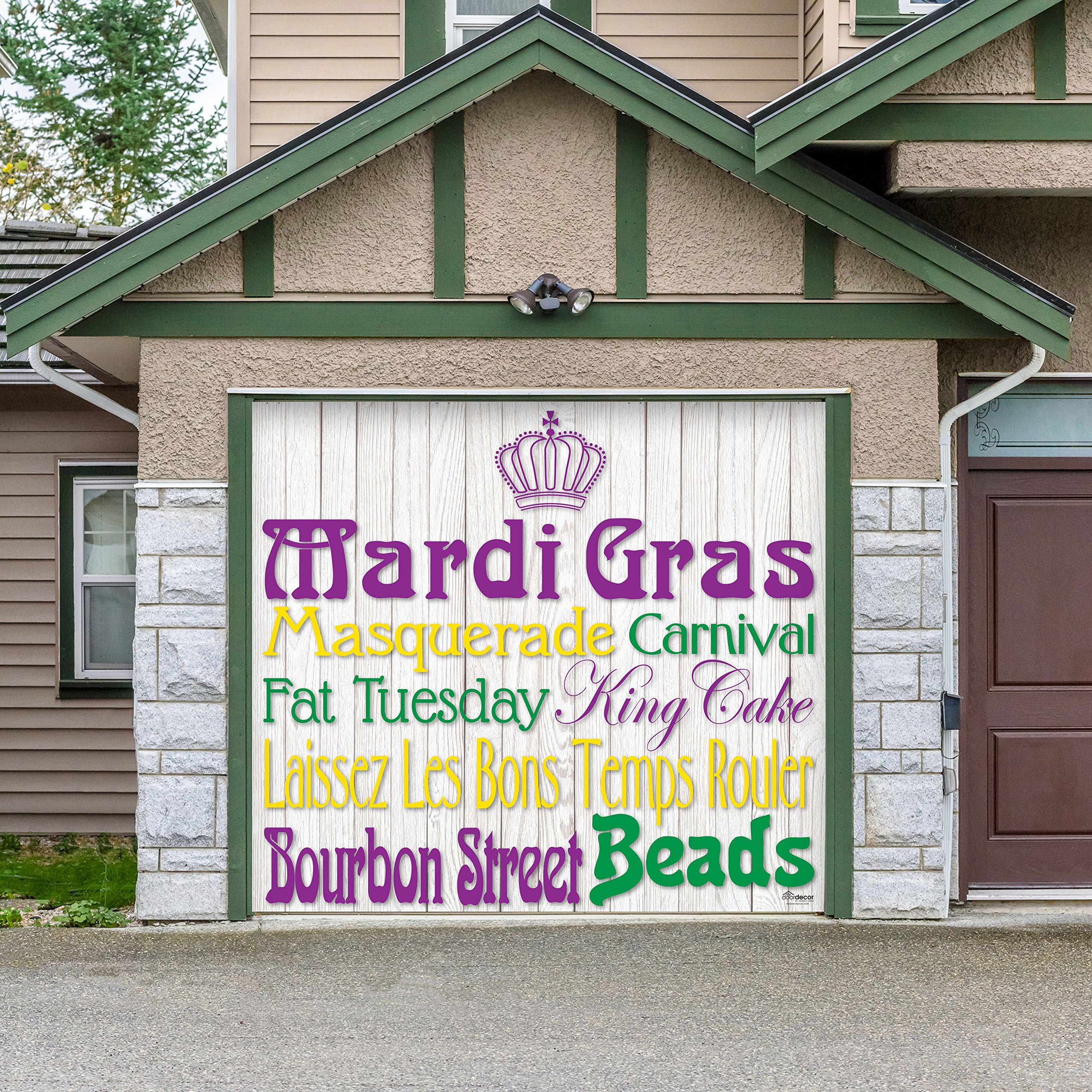 Outdoor Mardi Gras Decorations Garage Door Banner Cover Mural Décoration 8'x9' - Mardi Gras Words - ''The Original Mardi Gras Supplies Holiday Garage Door Banner Decor''