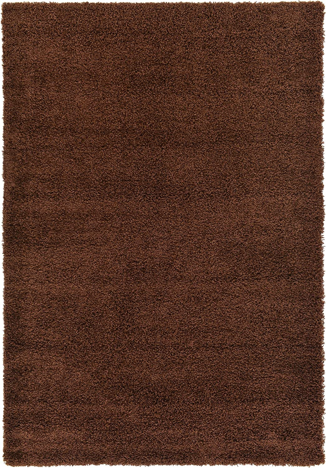 Unique Loom Solo Solid Shag Collection Modern Plush Chocolate Brown Area Rug (6' 0 x 9' 0)