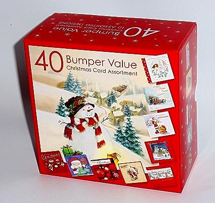 Caja de 40 tarjetas de Navidad tradicional, 1 pack: Amazon.es: Hogar
