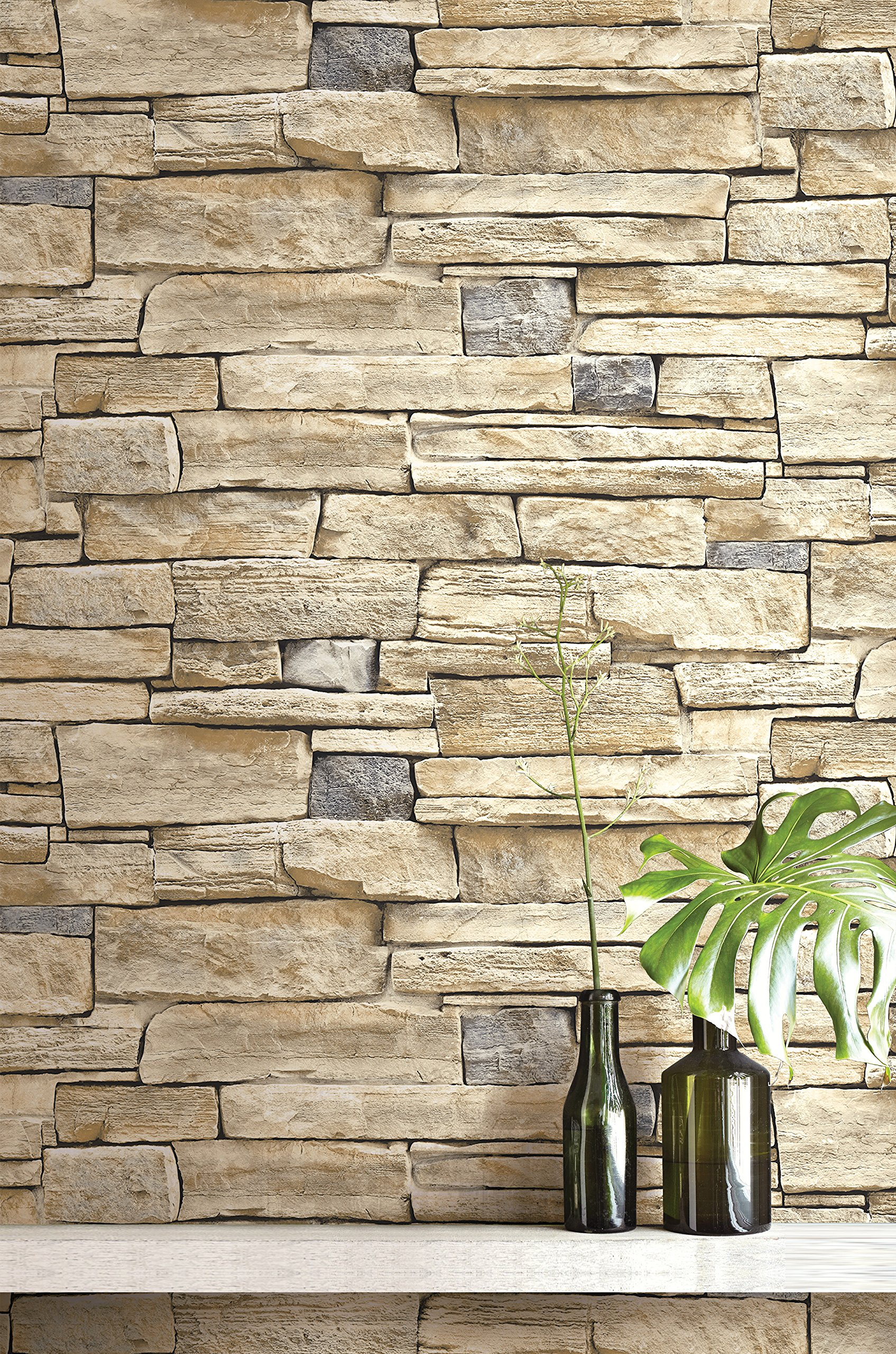 Contemporary Natural Limestone Brick Wallpaper (Cream and Grey) by Wallquest
