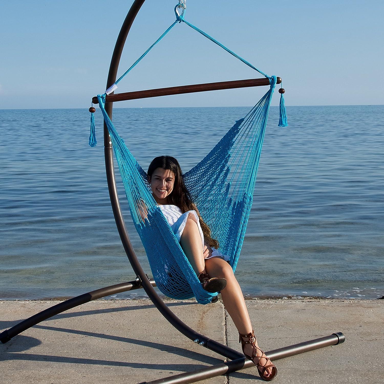 Caribbean Hammocks Hammock Chair with Footrest - 40 inch - Light Blue - 200 lbs Weight Capacity