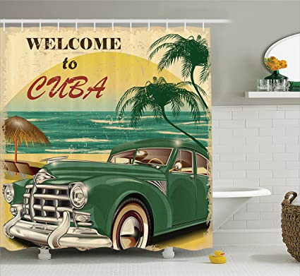 Ambesonne 1950S Decor Shower Curtain Set Nostalgic Welcome To Cuba Artsy Print With Classic Car