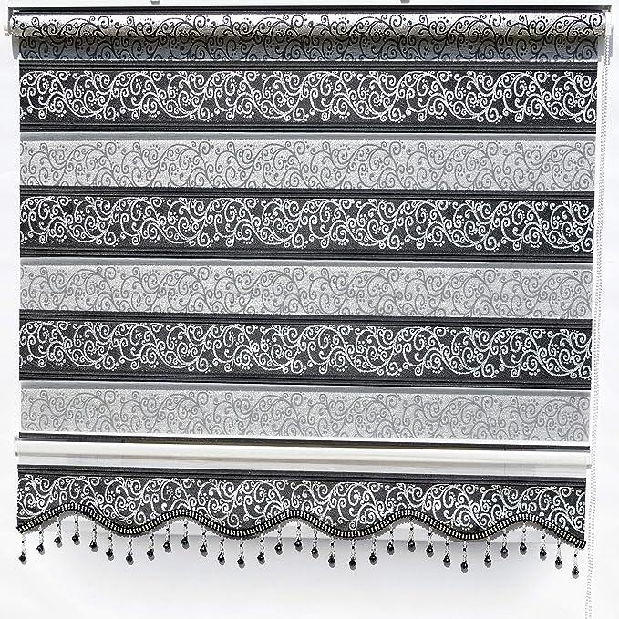 Brillant Gardinen Doppelrollo Klemmfix Ohne Bohren Schwarz Silber Muster Fenster Tür