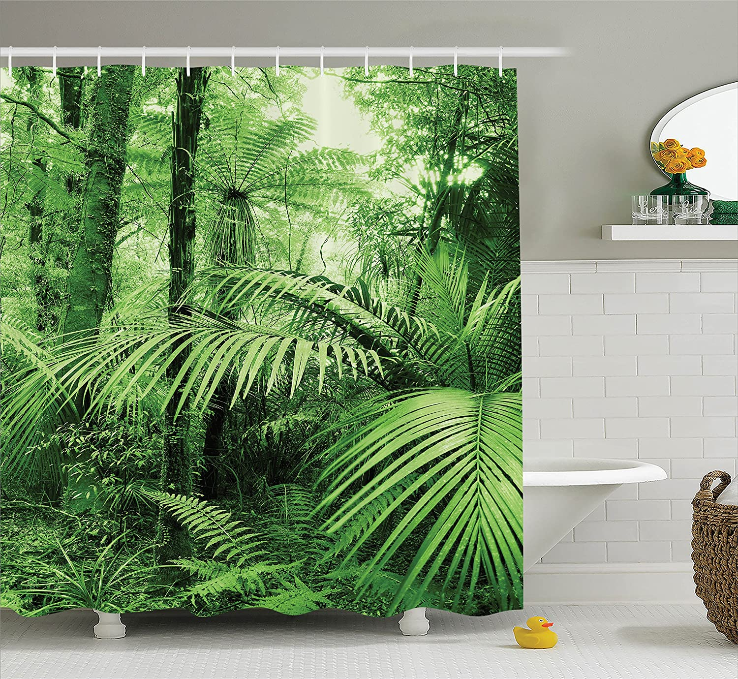 Ambesonne Rainforest Decorations Shower Curtain Set, Palm Trees and Exotic Plants in Tropical Jungle Wild Nature Zen Theme Illustration, Bathroom Accessories, 69W X 70L Inches, Green
