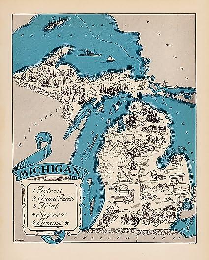Amazon.com: Plaindealing Vintage Michigan Picture Map 1930s Blue