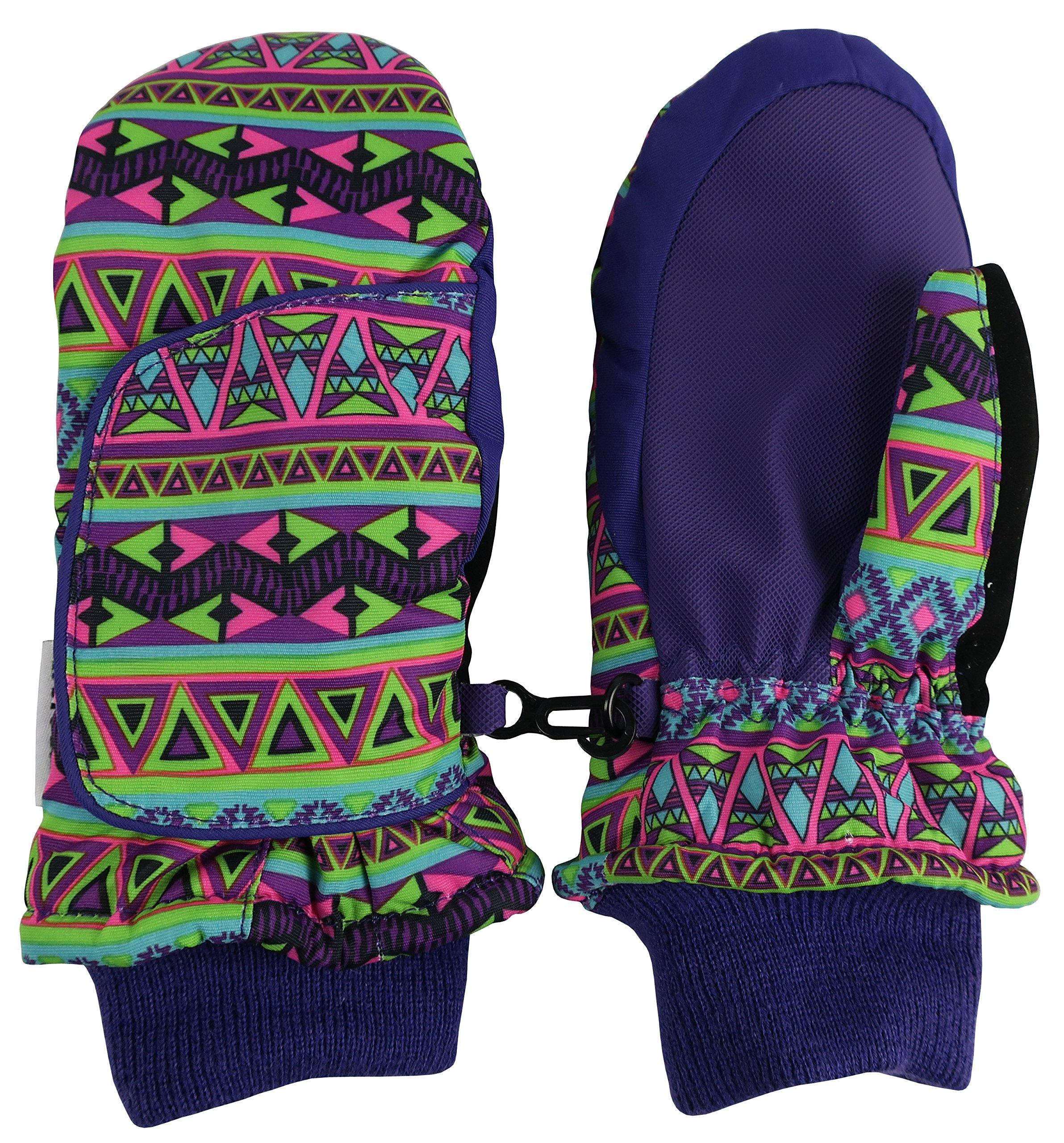 N'Ice Caps Kids Easy On Wrap Waterproof Thinsulate Winter Snow Mitten (5-6 Years, Purple Aztec Print)