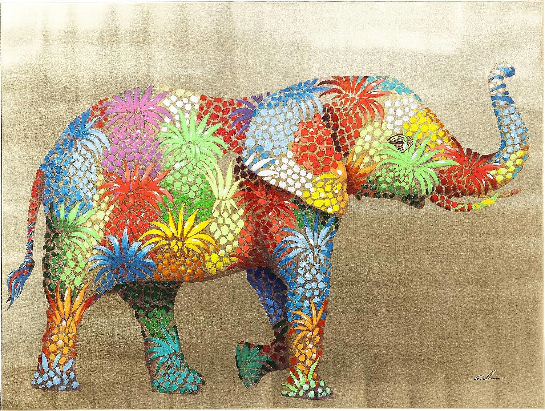 Kare Kare Kare Design Bild Touched Flower Elefant, XXL Leinwandbild auf Keilrahmen, Wanddekoration mit Elefanten, bunt (H B T) 90x120x4cm c74cef