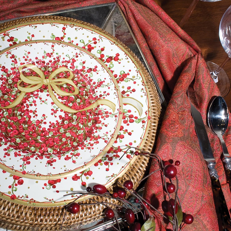 Red Caspari Entertaining Pepper Berry Dinner Plates 8-Pack
