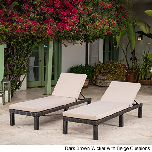 Great Deal Furniture Venice Outdoor Dark Brown Wicker Chaise Lounge