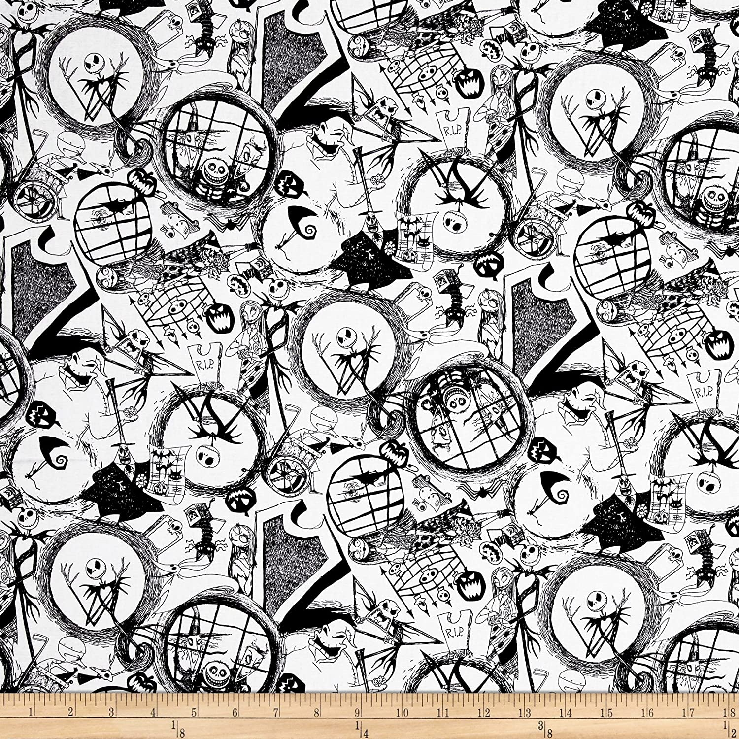 Springs Creative Products Disney Nightmare Before Christmas Tossed World of Nightmare Before Christmas Black Fabric by The Yard E. E. Schenck