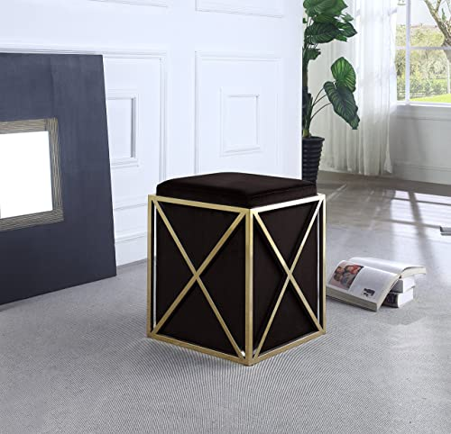 Iconic Home Vana Ottoman Brass Finished Stainless Steel X Frame Square Velvet Bench