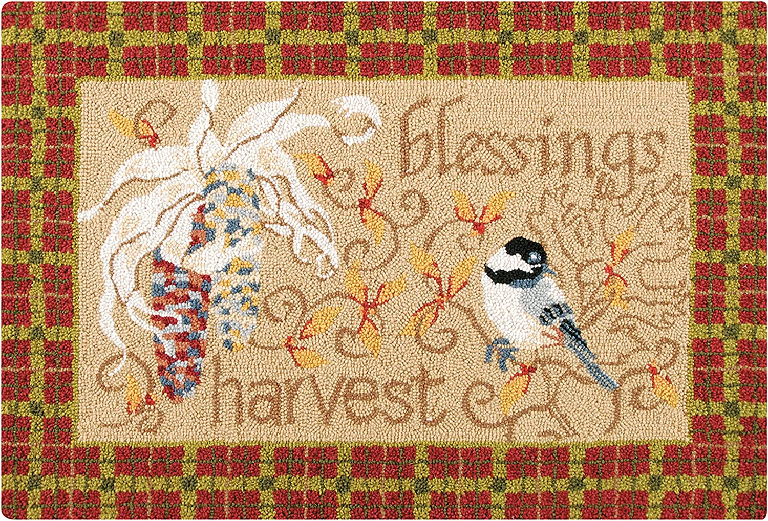 C&F Home Harvest Gatherings Blessed Chickadee Tan with Plaid Border Wool Fall Handcrafted Premium Handmade Hooked Indoor Area Rug 2x3 Hooked Rug Tan