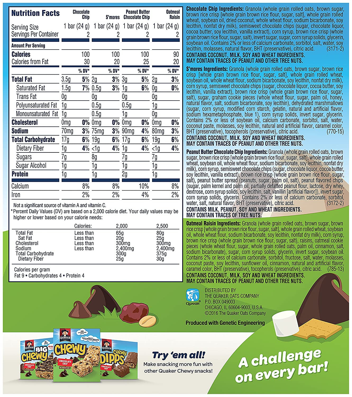 Quaker Granola Bar Nutrition Facts