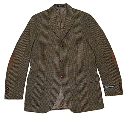 Polo Ralph Lauren Mens Wool Blazer Sport Coat Jacket Plaid Brown ...