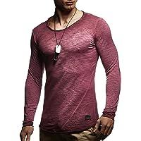 LEIF NELSON Herren Langarm-Shirt Slim Fit   Männer Sweat-Shirt mit Rundhals- 6bc24d9ba5