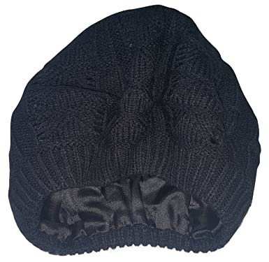 Always Eleven Satin Lined Knit Beret Hat (Black) at Amazon Women s ... 9e9c14fa485