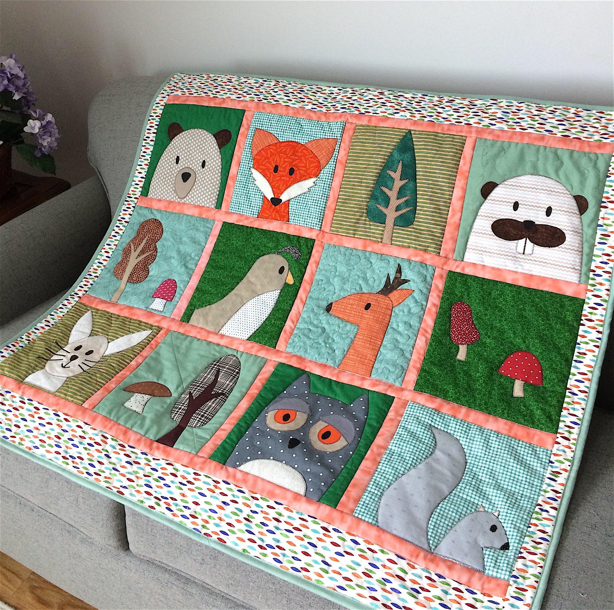 Woodland Baby Quilt, Forest Animals, Fox, Bear, Deer, Toddler Blanket, Nursery Bedding