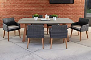 Quality Outdoor Living 65-YZ07RV Ranchview 7-Piece Outdoor Dining Set, Wicker + Wood, Charcoal