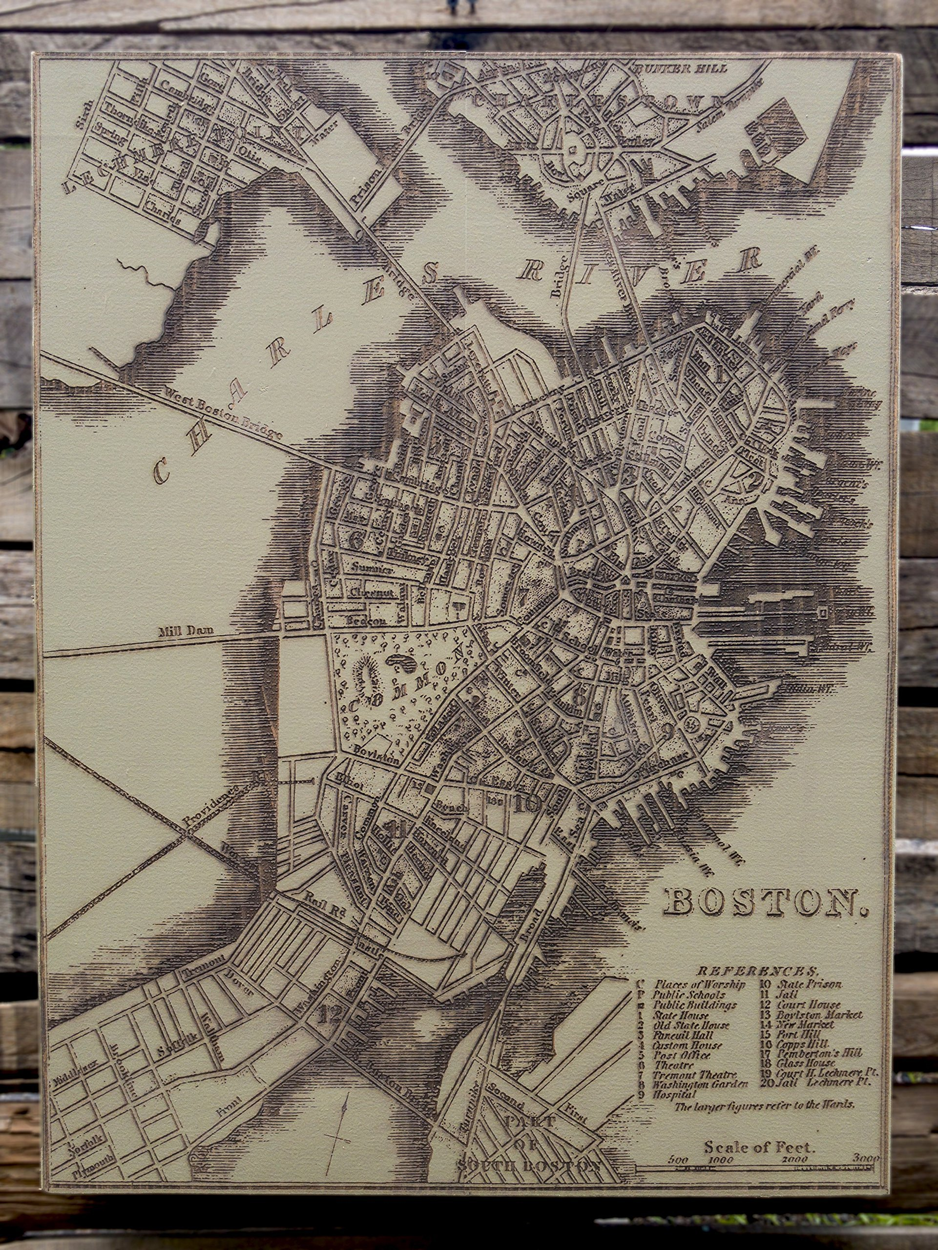 Historical Boston - 1842 wood engraved map