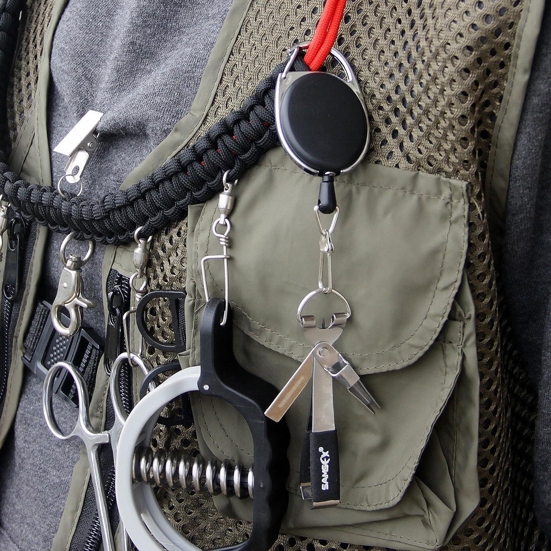 SAM S Angeln Angler Weste Pack Sortiment Fliegen Angeln Combo Bluetooth gebogen Pinzette mit Roll-Gear Karabiner Zinger