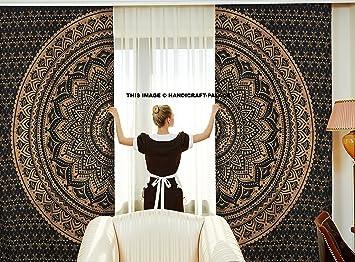 Indische Vorhänge, Ethnisch, Schwarz, Gold, Ombre-Mandala-Decor,  Mandala-Wandbehang, Meditations-Design, rund, Wohnzimmer, Kinder- und  Mädchen-Zimmer, ...