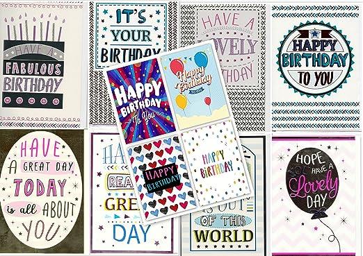 Pack de 12 Mixed tamaño grande diseño de letra Tarjeta de cumpleaños tarjetas de felicitación y sobres: Amazon.es: Hogar