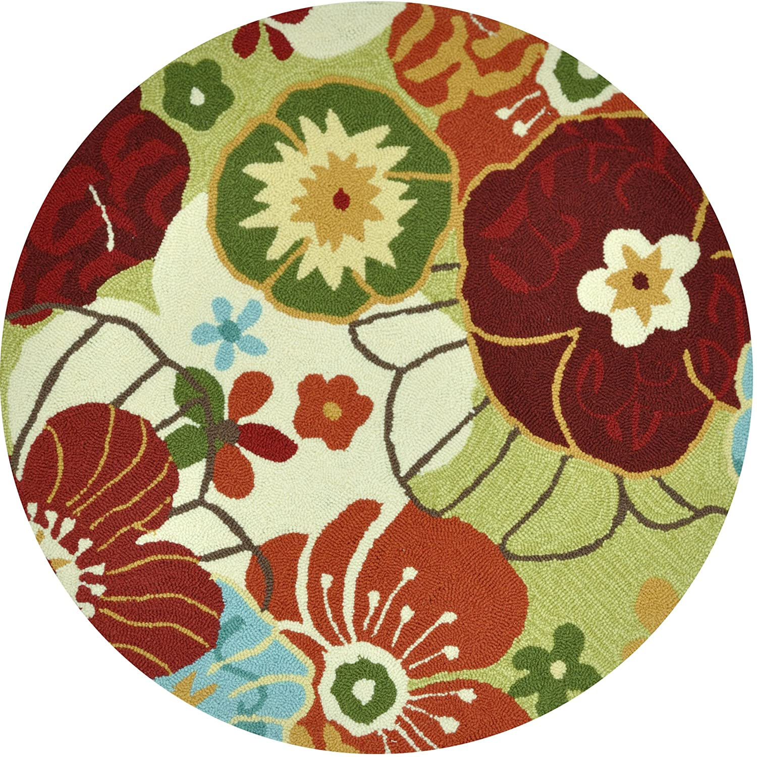 amazoncom loloi rugs summerton collection 100percent polyester round area rug 3feet by 3feet limemulti kitchen u0026 dining